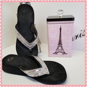 Shoes - Black Rehinstone Platform Sandals